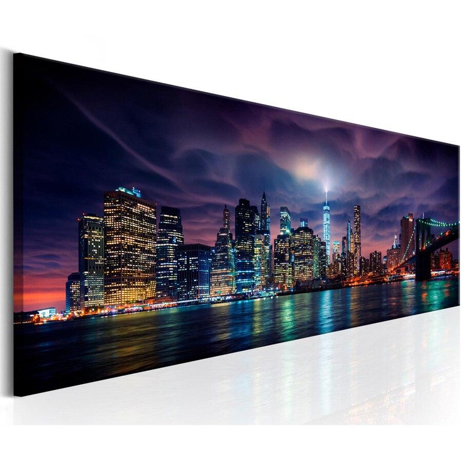 Нью-Йорк Ночной пейзаж большой 5D DIY алмазная живопись Полный Стразы Вышивка мозаика рукоделие домашний Декор подарок AA2486