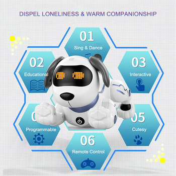 LE NENG TOYS K16A Electronic Animal Pets RC Robot Dog Voice Remote Control Toys Music Song Toy for Kids RC Toys Birthday Gift 6