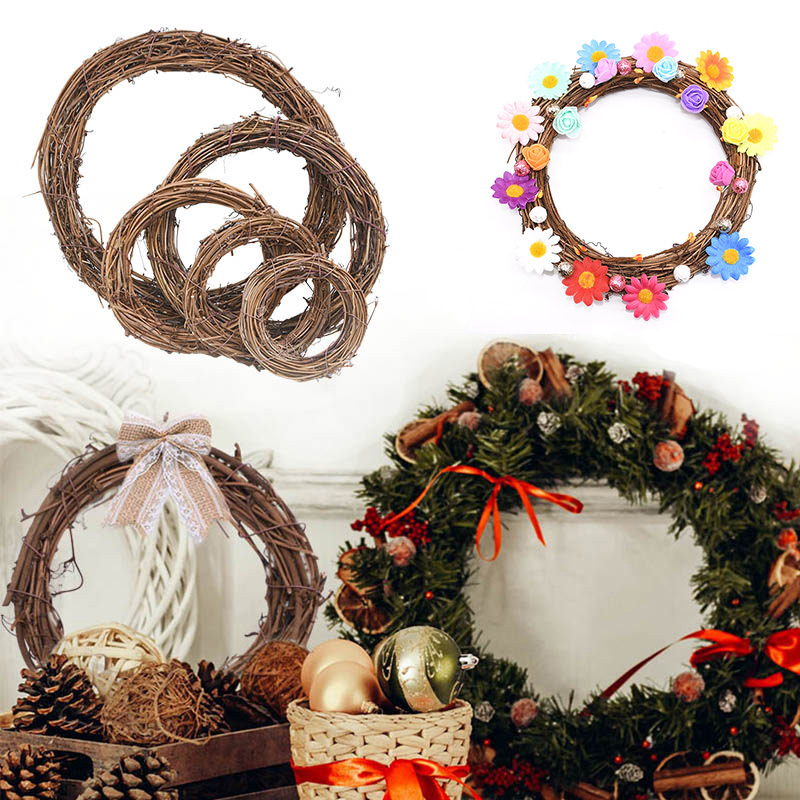 8/10/12/15/20/25cm Christmas Wreath Artificial Rattan Garland Wedding Christmas Tree Decor DIY Hanging Weaved Garlands Craft