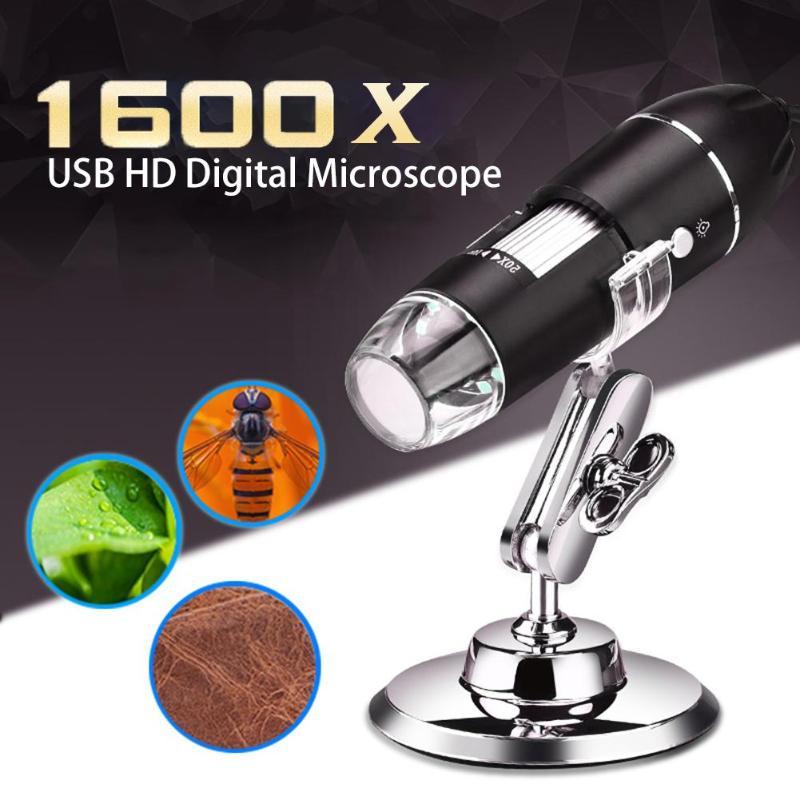 Lunettes de Pixel 1600X/1000X, Mini Microscope numérique USB, 8 led, Microscope électronique, Endoscope lampe de loupe pour PC
