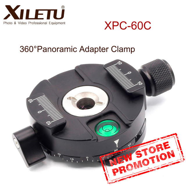 XILETU XPC 60C 360 Degree Panoramic Clamp Aluminum Alloy Adapter Quick Release Plate Tripod DSLR Photography Accessory