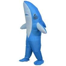 Disfraz de tiburón inflable para Halloween, disfraz de carnaval, fiesta de Navidad, traje de Animal adulto, accesorios de Cosplay, vestido de fantasía