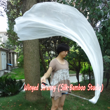 "white, 1 piece 1.8m*0.9m(70""*35"") detachable half circle belly dance silk veil poi, real flowy silk!"