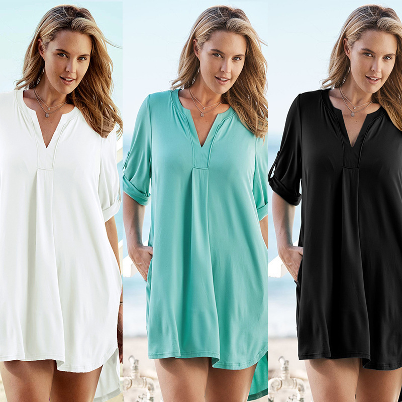 Europe And America New Style Knitted Elasticity Fabric Shirt Sun-resistant Beach Jacket In Long Sleeve V-neck Bathing Suit Blous