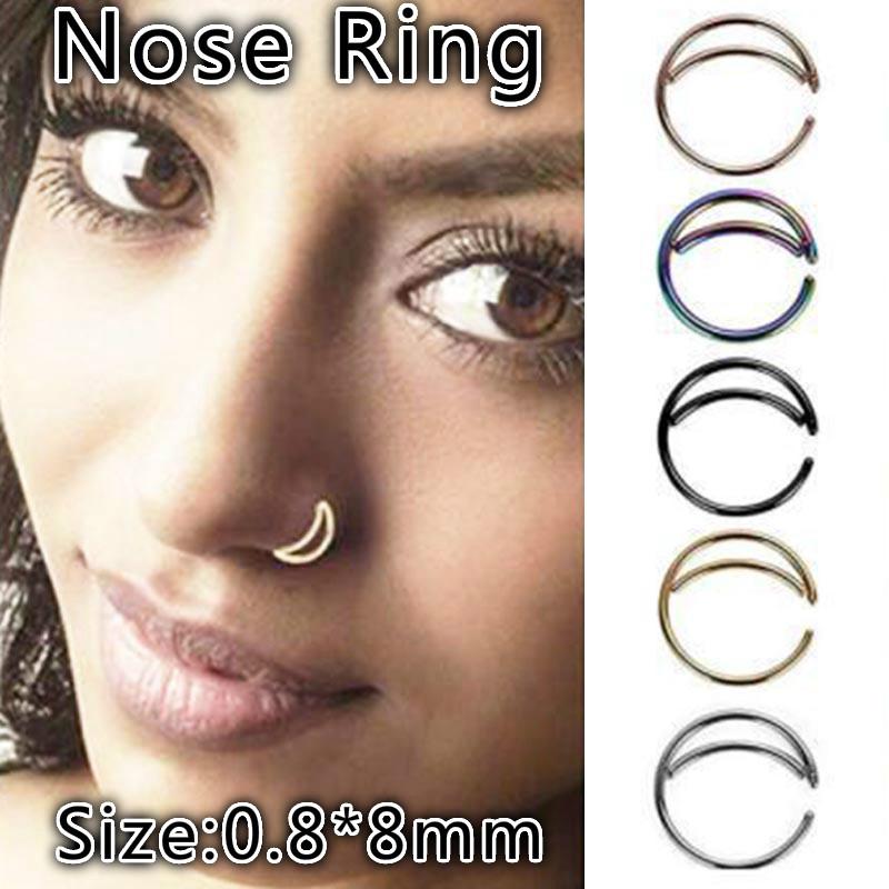 2pcs 8mm Stainless Steel Moon Nose Ring Hoop Indian Piercing