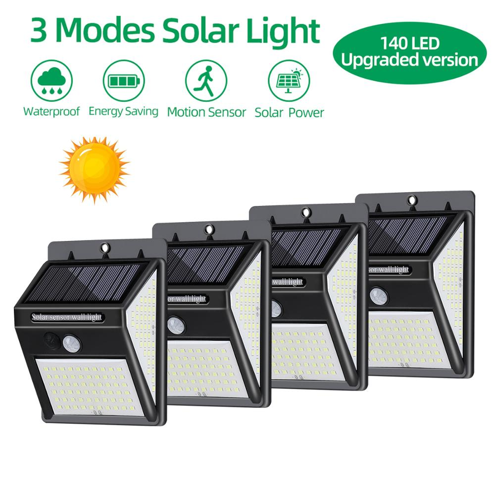 Three-sided 140 LED Solar Light PIR Motion Sensor Wall Lamp Waterproof Yard Fence Outdoor Lighting Solar Lamp Garden Light