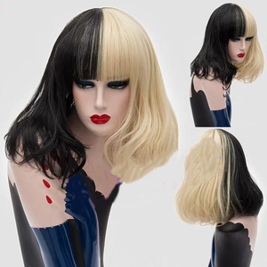 Image 5 - HAIRJOYสังเคราะห์ผมผู้หญิงสีดำสีขาวคู่ขนาดกลางวิกผมคอสเพลย์ตรง4 Colosม