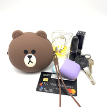 Q UNCLE Headphone Case Brown Bear for Key Card USB Cable Portable Bag