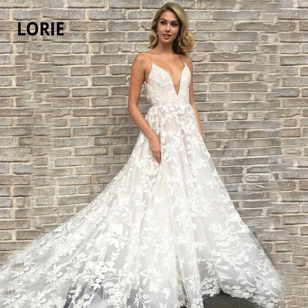 LORIE Quality Wedding Dress Lace Appliqued Soft Tulle Vintage Bridal Gowns Sexy V-neck Open Back Wedding Party Dress With Train