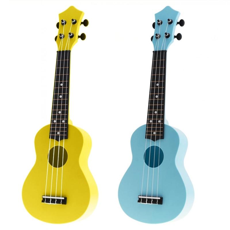 2Pcs 21 Inch Acoustic Ukulele Uke 4 Strings Hawaii Guitar Guitar Instrument For Kids And Music Beginner - Blue & Yellow