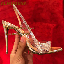 ALMUDENA Gold High Heels Bling Bling Crystal Wedding Shoes Transparent Clear PVC