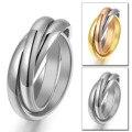 Новые тройные сцепленные обручальные кольца для женщин из нержавеющей стали, три в одном, обещают подарок для нее на День святого Валентина