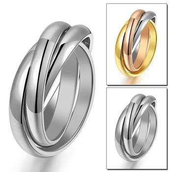 Новые тройные обручальные кольца для женщин, из нержавеющей стали, три в одном, подарок на день Святого Валентина