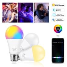 15w rgb cw apple homekit wifi lâmpada led inteligente e27 siri controle de voz regulável compatível amazon alexa/google/app