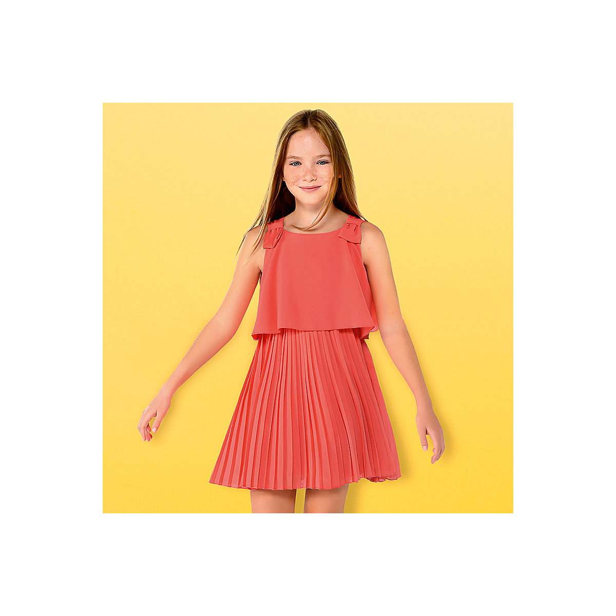 MAYORAL Dresses 10683716 Girl Children fitted pleated skirt Orange Polyester Casual Solid Knee-Length Sleeveless Sleeve