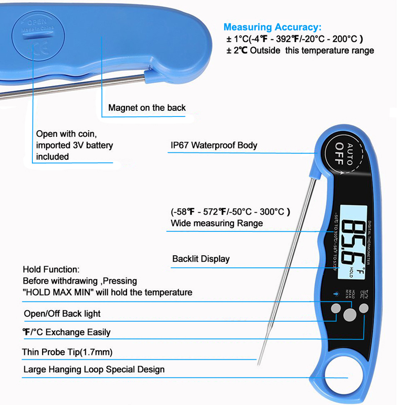 EAAGD Waterproof and Instant Read Food Thermometer with Calibration and Backlight Functions including Long Folding Probe