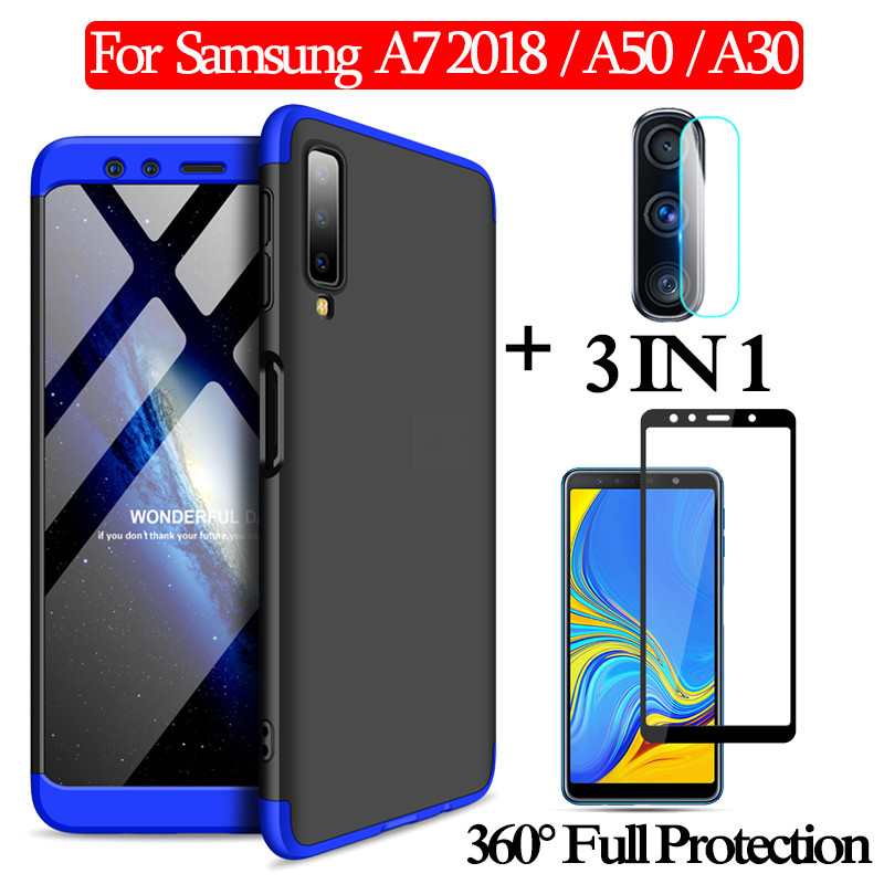 3-in-1 <font><b>Glass</b></font> + 360 Armor Case for Galaxy <font><b>A7</b></font> 2018 Full Protection Case For GalaxyA50 A30 Hard Case for <font><b>samsung</b></font>-<font><b>a7</b></font>-2018 <font><b>Back</b></font> <font><b>Cover</b></font> image