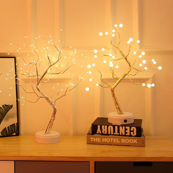 New Christmas Small table lamp coloured lights LED Copper lamp Tree lamp touch switch Pearl babysbreath decorate Night light комод saga ingvar coloured body light