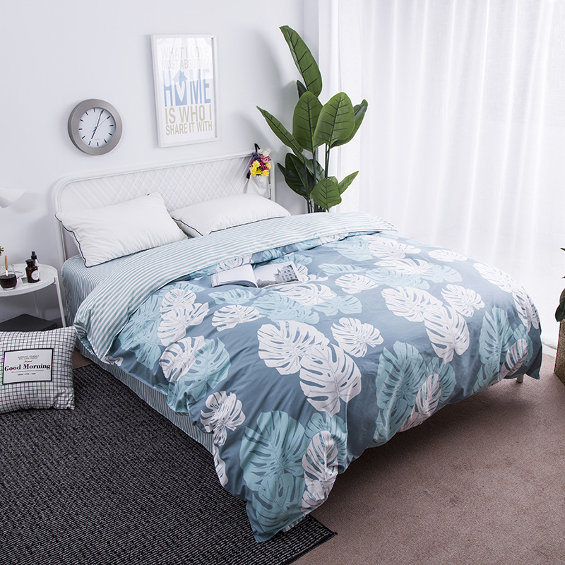 New Nordic Style Blue Banana Leaf Duvet Cover 1 Pc Quilt Cover Comforter/Blanket Case Twin Full Queen King Size Bedclothes Linen