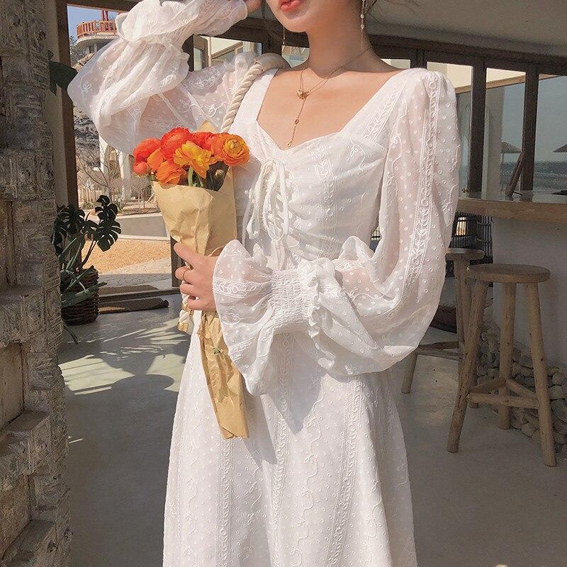 Heydress outono novo estilo francês retro elegante vestido de renda feminino trompete manga cordão cintura emagrecimento vestido feminino