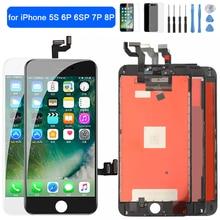 AAA + + + LCD عرض ل فون 5S 6P 6SP شاشة تعمل باللمس استبدال محول الأرقام الجمعية ل فون 7P 8 زائد LCD شاشة لا الميت بكسل