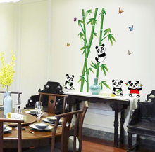 1 Pc Cute Bamboo Panda Wall Sticker for Bedroom Living Room TV Can Remove Wall Sticke Christmas Stickers Room Decoration(China)