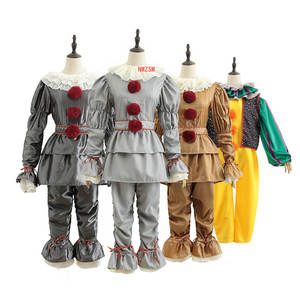 Clown Mask Halloween-Costume Joker King-It-Cosplay Kids Women for Adult Props Suit-Set