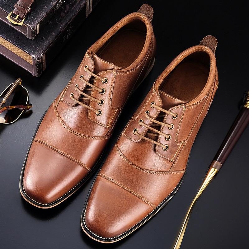 Hommes chaussures décontractées Top qualité Oxfords hommes en cuir véritable robe chaussures affaires chaussures formelles chaussures plates pour homme grande taille fête de mariage - 5
