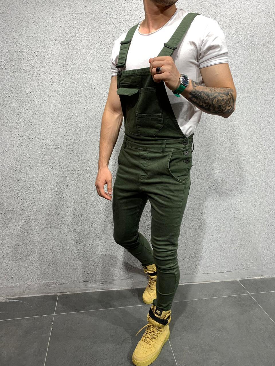 Europe And America New Style Cowboy Suspender Pants With Holes Slim Fit MEN'S Trousers Ozhouzhan Hot Selling Men's Skinny Pants