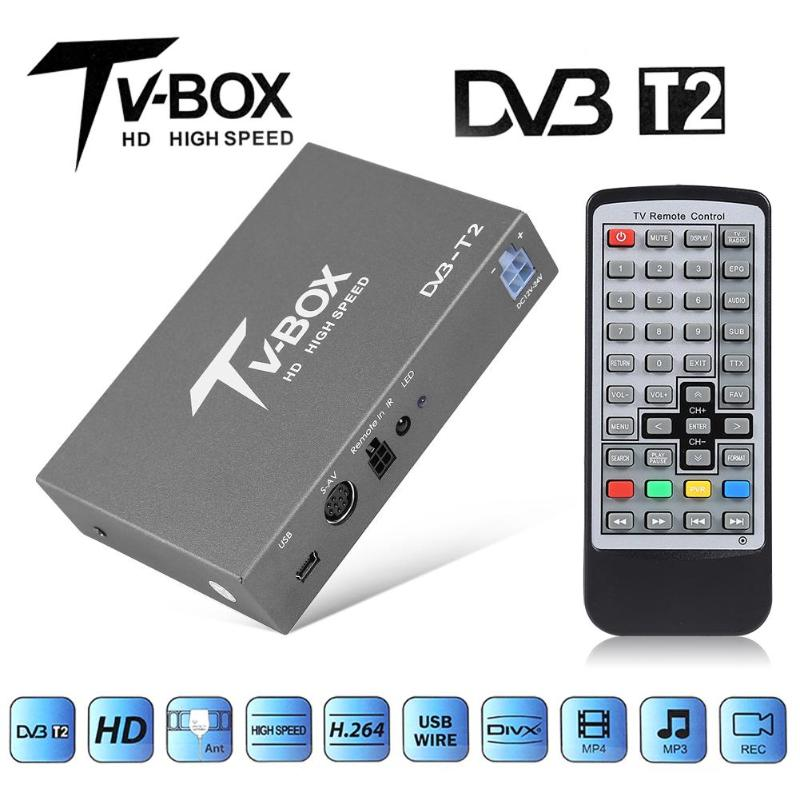 VODOOL Auto Mobile DVB-T2 Digital <font><b>TV</b></font> Box DVB T2 Mini HD Auto <font><b>TV</b></font> Signal Receiver Tuner Box Für In Auto DVD Video System Mit Antenne image