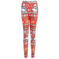 Mode Plus Größe Weihnachten Santa Claus Glocke Print Leggings Frauen Dünne Hohe Elastische Taille Bleistift Hosen Herbst Winter Legging