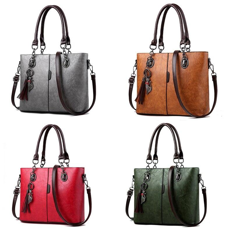 Image 2 - Gradosoo Vintage Tote Bag For Women Leather Handbag Large Capacity Shoulder Bag Women Top Handle Bag Messenger Bag Female HMB647-in Top-Handle Bags from Luggage & Bags