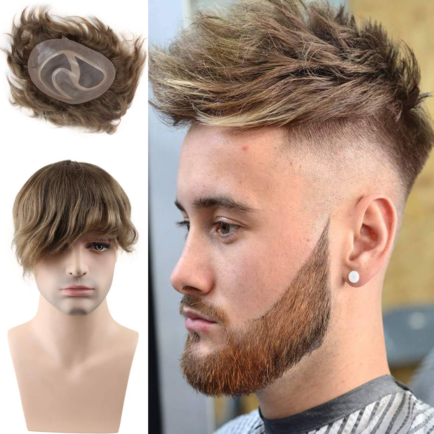 Toupee For Men Hair Pieces 100% European Virgin Human Hair Replacement System For Men 10