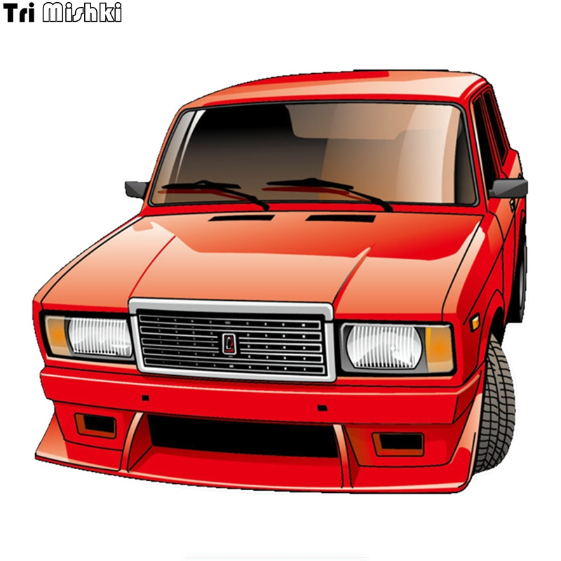 Tri Mishki WCS675 15*13cm VAZ 2107 Car Sticker PVC Coloful Decals Motorcycle Accessories Sticker