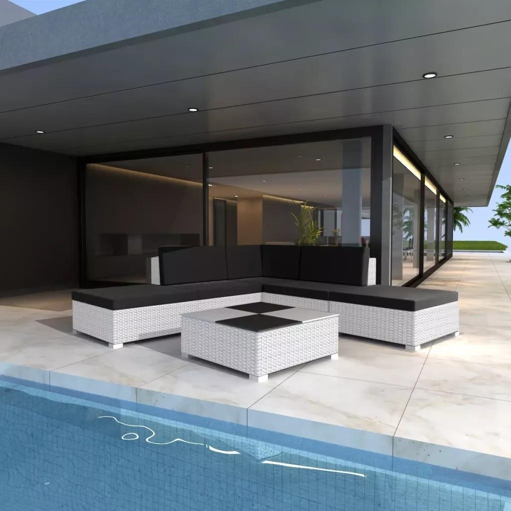 VidaXL Mobilier De Jardin 6 Pcs Avec Coussins RéSine TresséE Blanc Garden Furniture Set Corner Sofa Removable Armless Seats