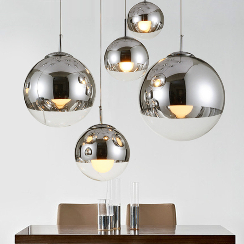 Postmodern LED Pendant Lights Electroplate Glass Ball Lampshade Home Decor Hanglamp Living Room Dining Room Kitchen Hanging Lamp