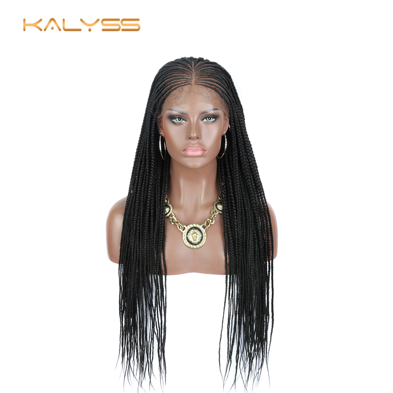 Kalyss 34 Inches Hand Braided Wigs For Black Women Synthetic Lace Front Wig With Baby Hair For Women Cosplay Women's Wig