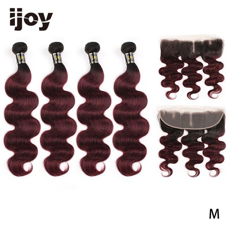 "Ombre Body Wave 4 Bundles With 4x13 Lace Frontal #99J/Burgundy Red8""-26"" M Brazilian Human Hair Weave Bundles Non-Remy IJOY"