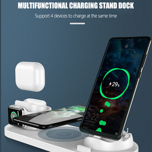 Image 4 - 6 in1 10W Wireless Charger Stand Dock for iPhone 11 Pro Xs Max 8 X Fast Wireless Charging for Apple Watch 5 4 3 2 Airpods Pro 2