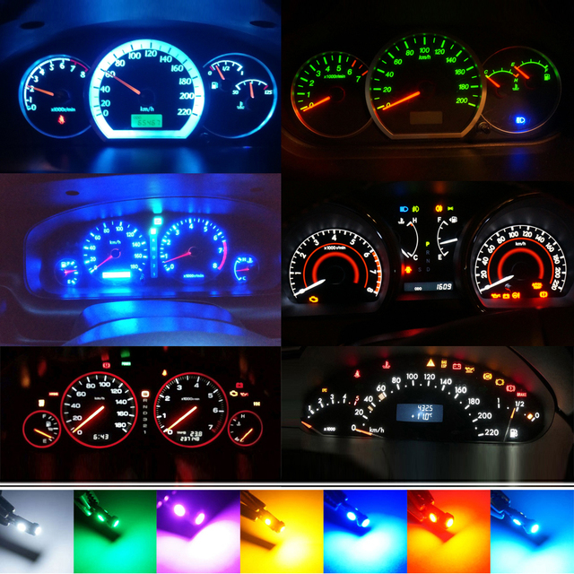 T5 Led Bulb Car Interior Lights Dashboard warming indicator Wedge Auto Instrument Lamp 12V white blue red yellow green pink
