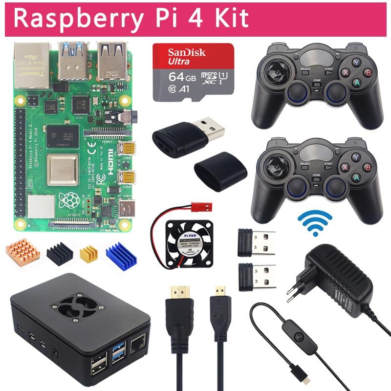 Raspberry pi 4 modelo b jogo kit + 2.4g gamepads sem fio 64g 32g cartão sd caso abs interruptor de alimentação ventilador micro hdmi
