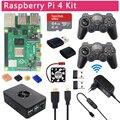 4000126504259 - Juego Raspberry Pi 4 Modelo B + Gamepads inalámbricos de 2,4 Ghz + tarjeta SD 64G 32G + funda ABS + fuente de alimentación del interruptor + ventilador + Cable HDMI