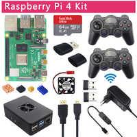 Raspberry Pi 4 modèle B Kit de jeu + 2.4G manettes sans fil + 64G 32G carte SD + boîtier ABS + interrupteur d'alimentation + ventilateur + Micro HDMI