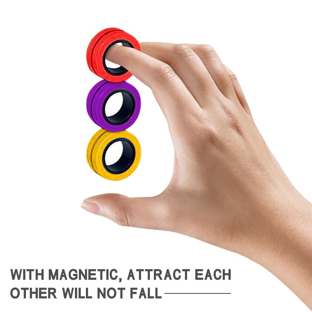 Anti Stress Magnetic Rings Fidget Unzip Toy Magic RingTools Children Magnetic Ring Finger Spinner Ring Adult