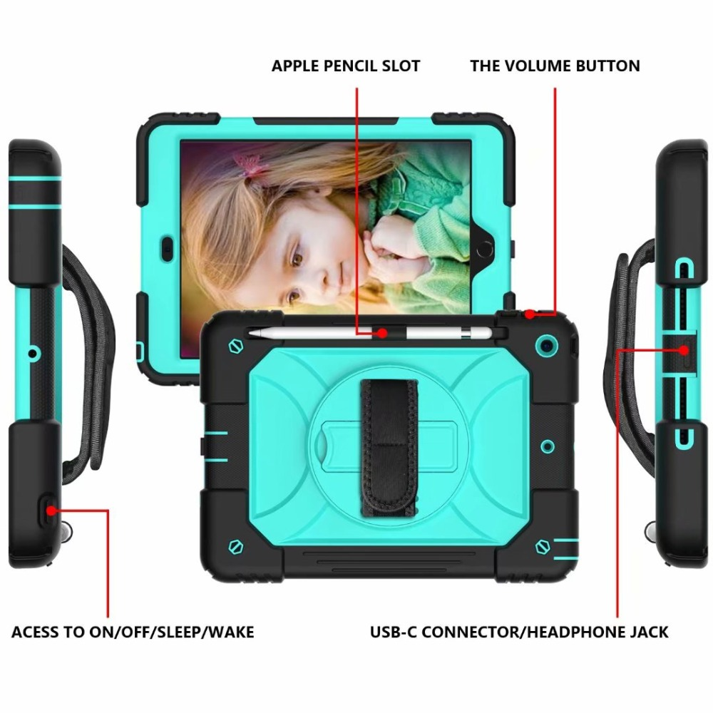360 Rotating iPad For Case Stand 7th Cover iPad Generation Hand Pencil Holder For Strap
