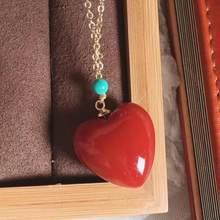 Natural Stone Precious Red Coral Rare Pendant Heart Love Women Men 17mm Crystal Healing Stone Necklace AAAAA(China)