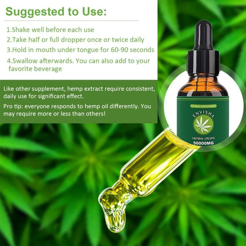 1PC 30ml 100% Natural Hemp Oil for Pain Relief Sleep Aid Anti Stress 50000 mg Contains CDB Hemp Extract Drops Body Skin Care Oil image