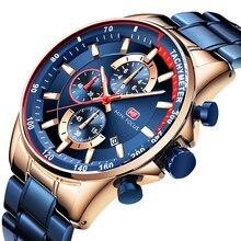 MINIFOCUS Brand Luxury Watch Men Waterproof Fashion Sport Style Mens Wristwatch Quartz Clock Man Blue Stainless Stee Strap Relogio Masculino