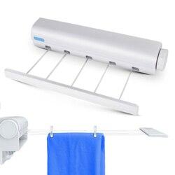 Telescópica de aço Inoxidável varal Cabide de Parede Interior e Exterior corda de roupa cremalheira de secagem de roupa linha de lavagem Retrátil