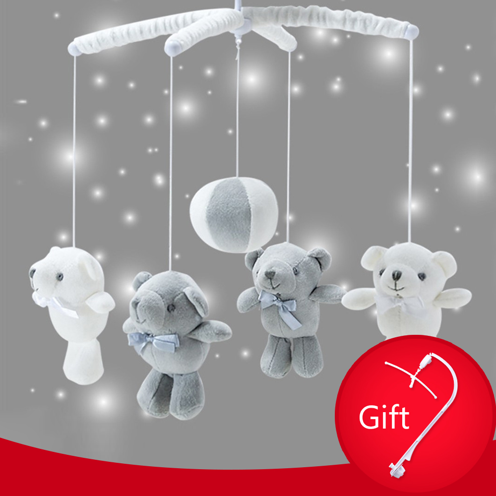 Mobile Crib Holder Rattles Baby Toys Bracket DIY Bed Bell Hanging Bear Toy With Music Box Baby Toys 0-12 Months Stroller Toy